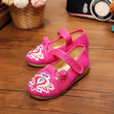 童鞋盘扣绣花单鞋橡胶牛筋底软底布鞋 小童鞋YRZP