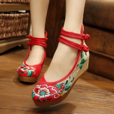 新款牛筋底芙蓉花坡跟女单鞋增高民族风绣花鞋单鞋YRZP