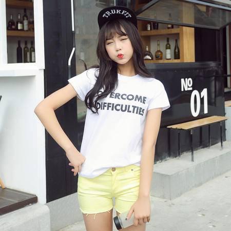 2016夏季新款女士T恤时尚字母印花宽松圆领短袖女装t恤WSY