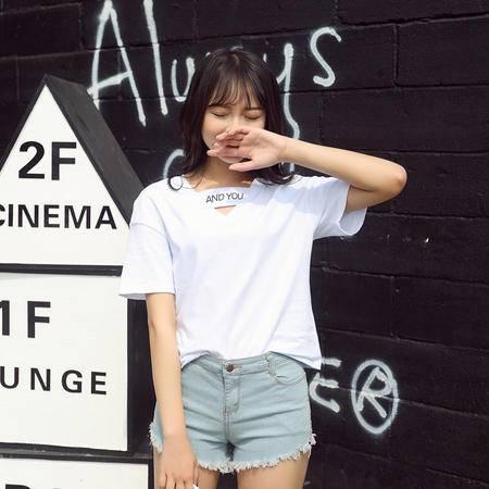 2016夏季韩版V领女式宽松字母印花纯棉短袖t恤女WSY