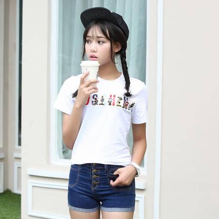 2016夏季新款纯棉白色卡通短袖字母t恤女士WSY
