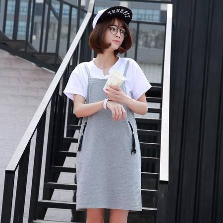 2016夏装背带裙韩版清新休闲宽松纯色吊带打底背带连身裙女装WSY