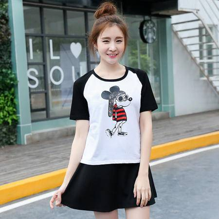 短袖女t恤2016夏季圆领卡通学生装纯棉可爱米奇t恤上衣WSY