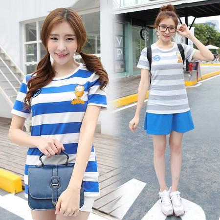 短袖t恤女条纹2016夏季新款韩版女装加菲猫女t恤潮WSY