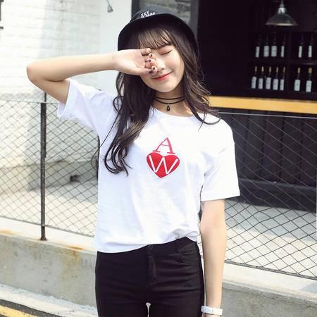 2016夏装韩版女士时尚字母印花女式宽松t恤圆领短袖纯棉T恤WSY