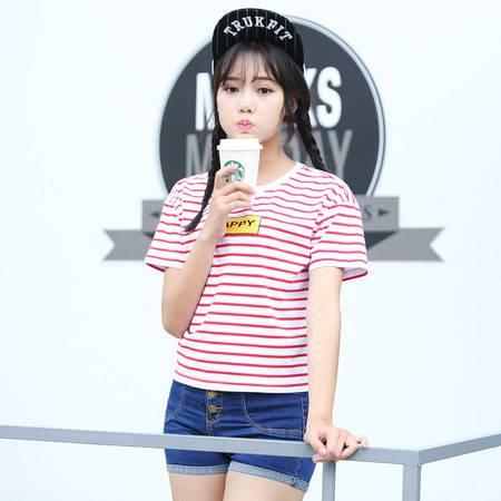 2016夏季女装纯棉条纹短袖女士T恤宽松t恤WSY