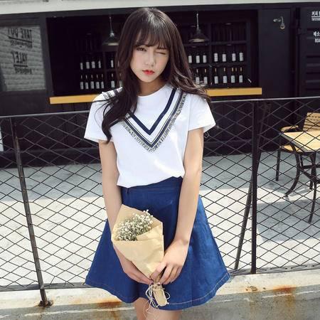 韩国2016夏季新款女士上衣韩版印花流苏短袖薄款纯棉短袖t恤女WSY