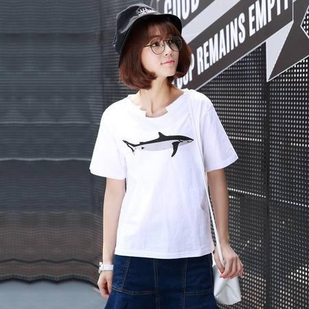 2016夏款韩版宽松全棉动物印花短袖T恤女装 7328WSY