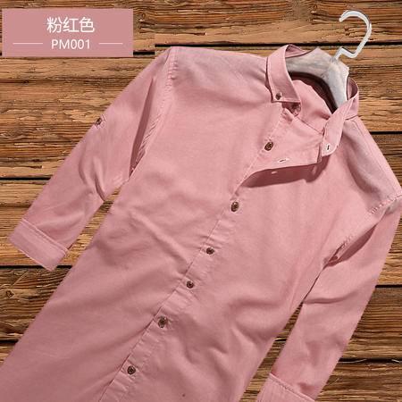 夏季七分袖衬衫男韩版修身棉麻衬衫 男式休闲衬衫PFT