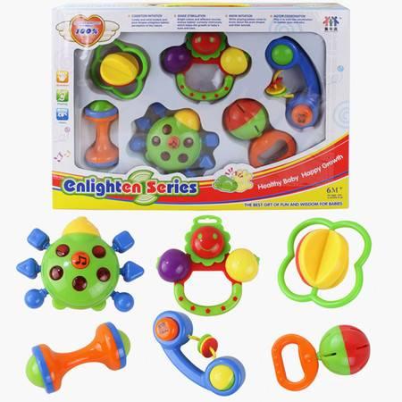 儿童玩具贝乐康8313卡通摇铃6件套装 婴儿玩具 音乐灯光手铃TFWJ