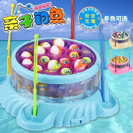 电动海洋旋转咬钩钓鱼玩具 宝宝休闲益智亲子互动游戏038TFWJ