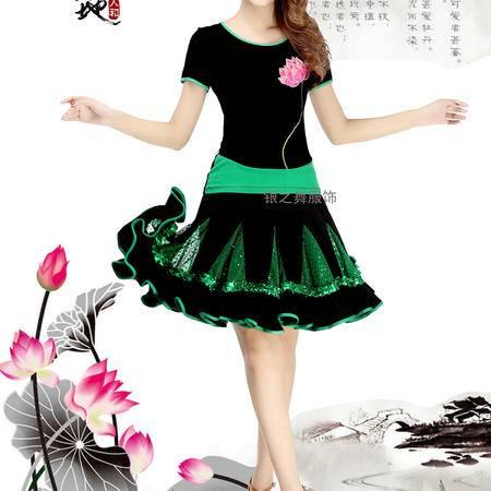 年广场舞服装一枝独秀荷花短袖摆裙套装YZW
