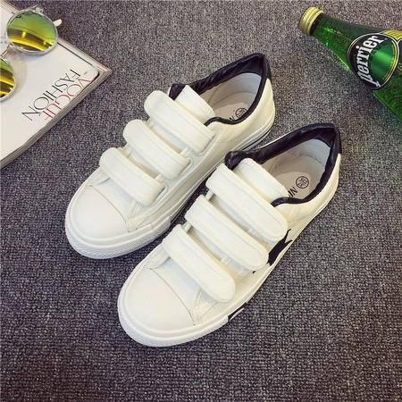 秋季学院风帆布鞋女平跟魔术贴休闲鞋经典韩版低帮学生布鞋潮XLD