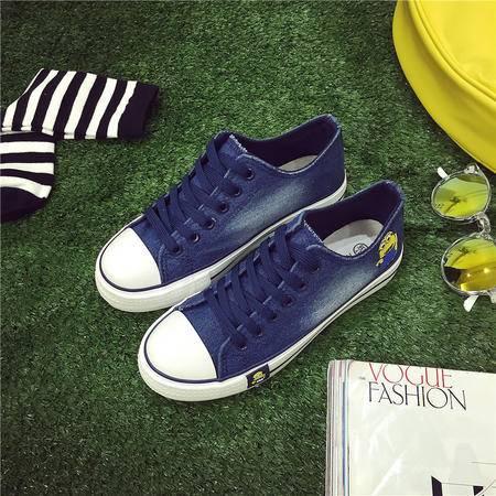 韩版帆布鞋女厚底水洗牛仔学生单鞋休闲平跟女式板鞋低帮系带XLD