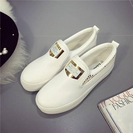 秋季韩版皮面低帮厚底帆布鞋女士一脚蹬懒人中学生单鞋XLD
