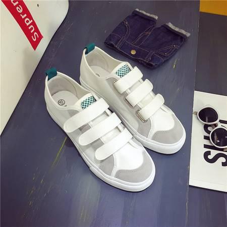 秋季新款帆布鞋女韩版休闲学生鞋厚底魔术贴懒人布鞋平跟单鞋XLD