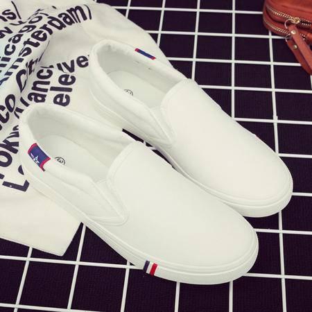 春夏小白鞋韩版帆布鞋女学生鞋平底休闲一脚蹬懒人鞋平跟单鞋XLD