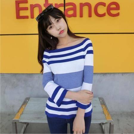 A8132016秋新款韩版条纹拼色一字领开口九分喇叭袖收腰针织衫NXNZ