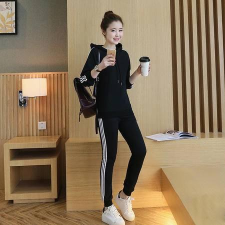 5710#2016秋季新款时尚大牌三条杠休闲运动套头两件套女NXNZ