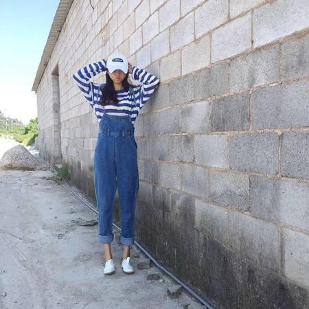 9623#2016秋装新款女装韩版俏皮系带显瘦牛仔背带裤长裤子NXNZ