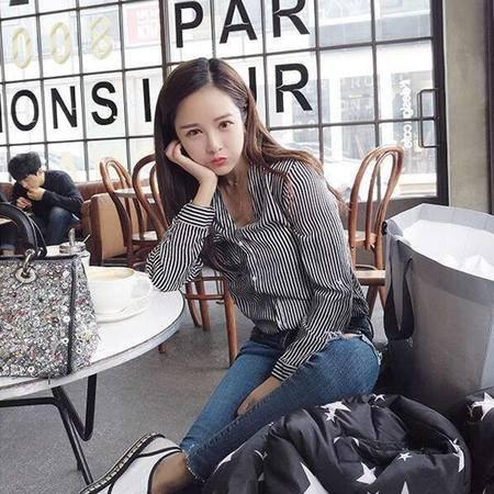 8710#2016新款韩版V领条纹长袖衬衣女NXNZ