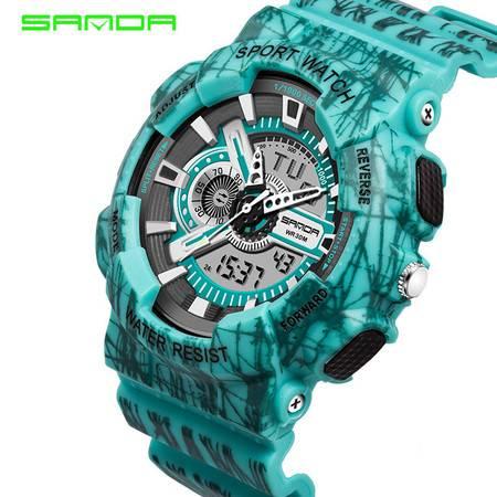 表青少年多功能夜光电子手表防水运动表情侣防震学生手表 799线条三针 SDSB
