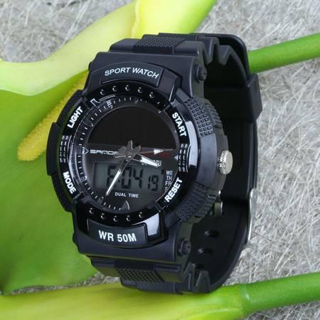 表手表低碳环保太阳能多功能户外运动防水双显示男女手表 725 SDSB
