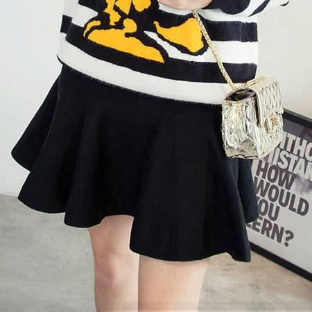 6318秋季女装新款韩版 A字裙中腰女式针织半身裙NXNZ3