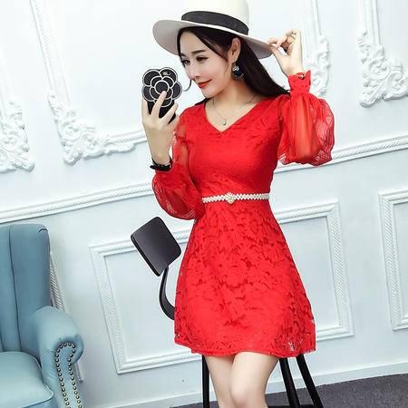 9510()秋季新款修身显瘦蕾丝打底裙长袖连衣裙(送珍珠腰带)NXNZ3