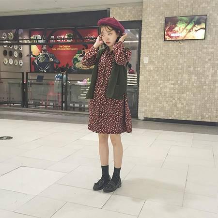722新款民族风宽松灯芯绒印花长袖显瘦中长款连衣裙 女NXNZ3