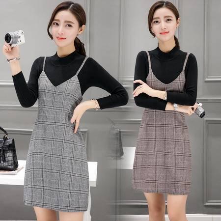 8100新款时尚套装裙长袖针织衫+格子连衣裙收腰吊带裙两件套NXNZ3