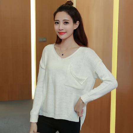 2208秋季女装新款韩版宽松显瘦毛衣女长袖套头口袋上衣NXNZ3