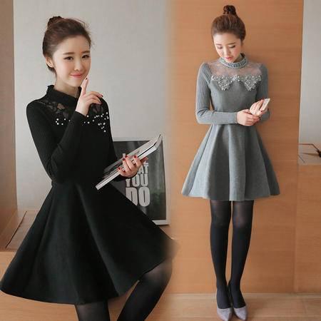 11763秋冬女装韩版甜美长袖针织打底裙秋装中长款毛呢连衣裙NXNZ3