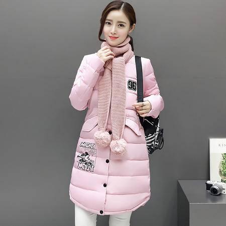 6637冬季新款韩版修身棉衣中长款加厚羽绒棉服女外套配围脖NXNZ3