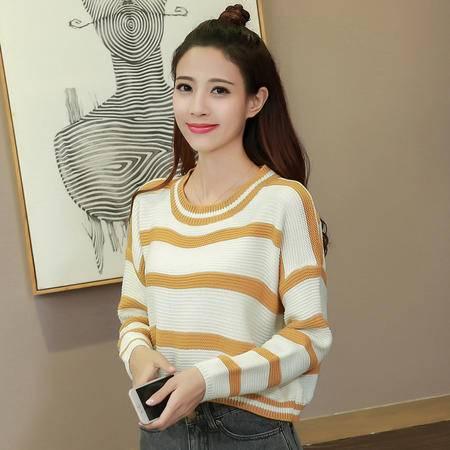 2209秋季新款韩版百搭大条纹短款套头毛衣女NXNZ3