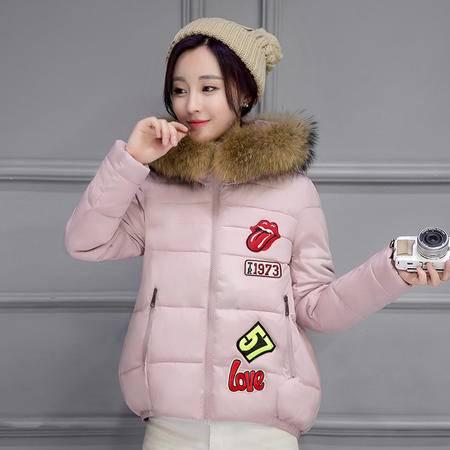 6658棉衣女冬装新款字母毛领学生短款棉袄贴布羽绒棉服外套NXNZ3