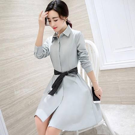 9901秋新款女装中长款韩版时尚修身显瘦A字长袖衬衫连衣裙NXNZ3