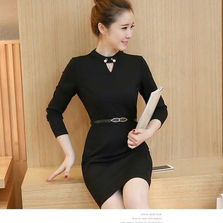 155秋季女装新款韩版打底裙修身大码长袖连衣裙包臀裙NXNZ3