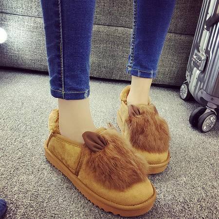 冬季真兔毛可爱兔耳豆豆棉鞋舒适平跟加绒懒人鞋女学生厚底鞋【GG11】XLD