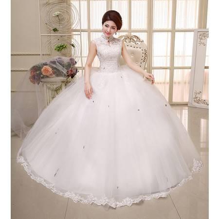 【预售】红色 新娘齐地 显瘦包肩 蕾丝复古 绑带大码婚纱HS348XSFZ