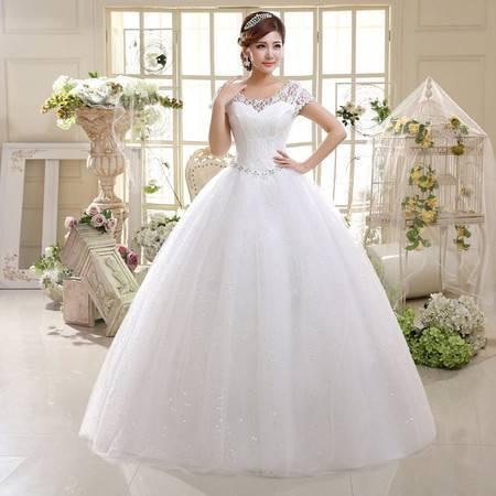 【预售】婚纱 礼服 双肩 修身 结婚大码 新娘蕾丝 绑带婚纱XSFZ