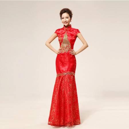 【预售】新娘旗袍 结婚旗袍 复古 长款 缝金丝凤凰 旗袍XSFZ