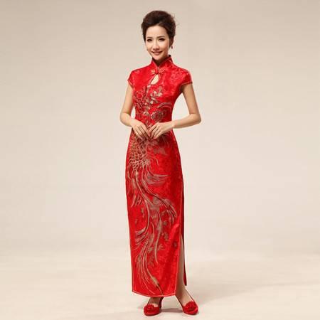 【预售】性感中式 时尚旗袍 新娘 复古结婚 红色旗袍63XSFZ