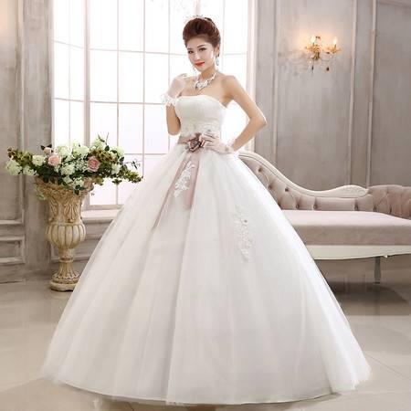 【预售】白色抹胸 新娘齐地 蝴蝶结 孕妇结婚 时尚婚纱礼服XSFZ