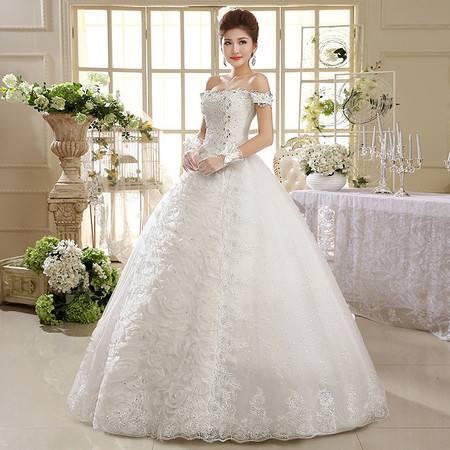 【预售】白色女装婚纱礼服 结婚季一字肩复古蕾丝款XSFZ