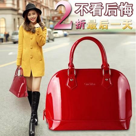 【预售】女士包包潮大红色时尚新娘包包结婚包斜挎手提漆皮贝壳包【125】HCPJ