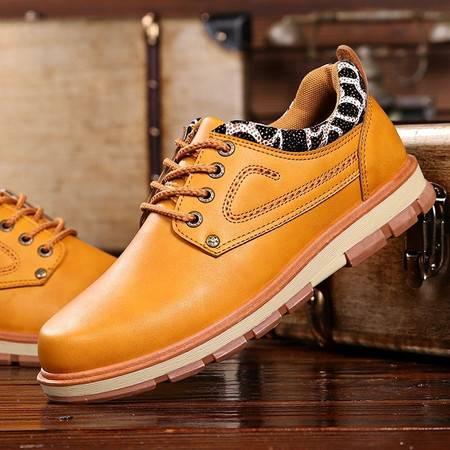【预售】秋季男鞋休闲鞋 男士皮鞋系带英伦透气板鞋低帮潮流工装鞋男【G06】JQSL
