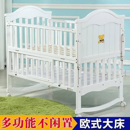 婴儿床 实木欧式宝宝摇床带滚轮多功能松木加大游戏bb床HBTC