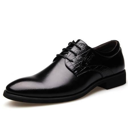 春款典雅气质型男士尖头商务皮鞋舒适系带男鞋单鞋9907 JST3