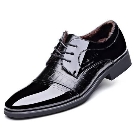 冬季新款商务皮鞋时尚男鞋正装加绒单鞋棉鞋子【9905-1】JST3